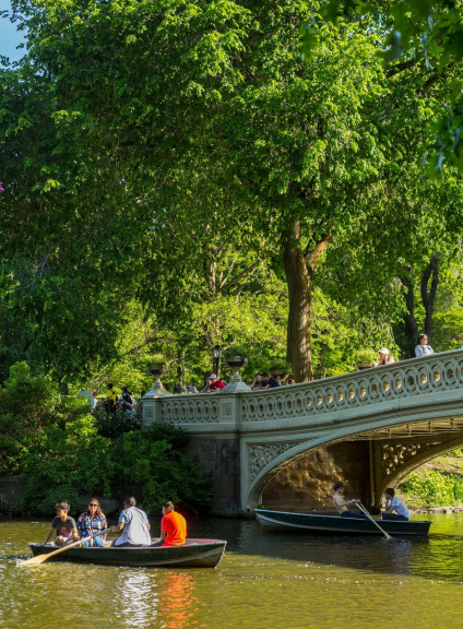 Bow Bridge with Boaters