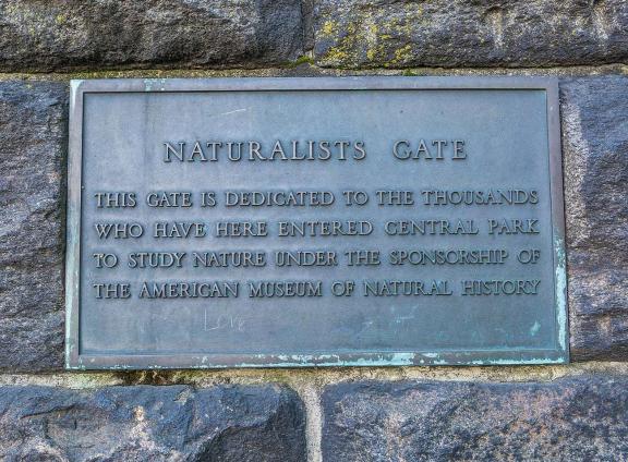 Plaque on Naturalist's Gate