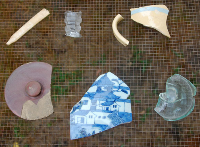 Artifacts uncovered by the Seneca Village dig