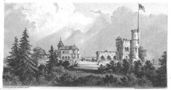 Early rendering of Belvedere Castle