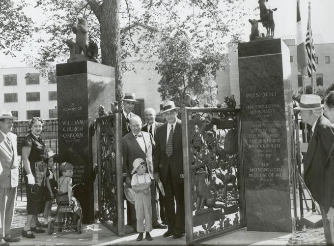 Dedication of Osborne Gates, with Robert Moses