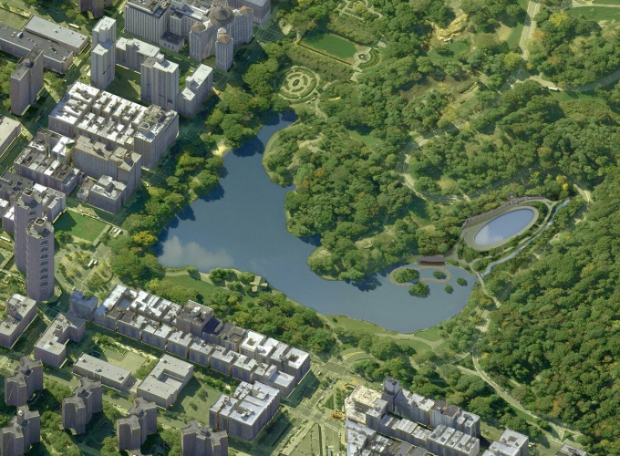 Aerial view of the future of Harlem Meer