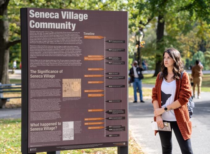 Signage at Seneca Village Community
