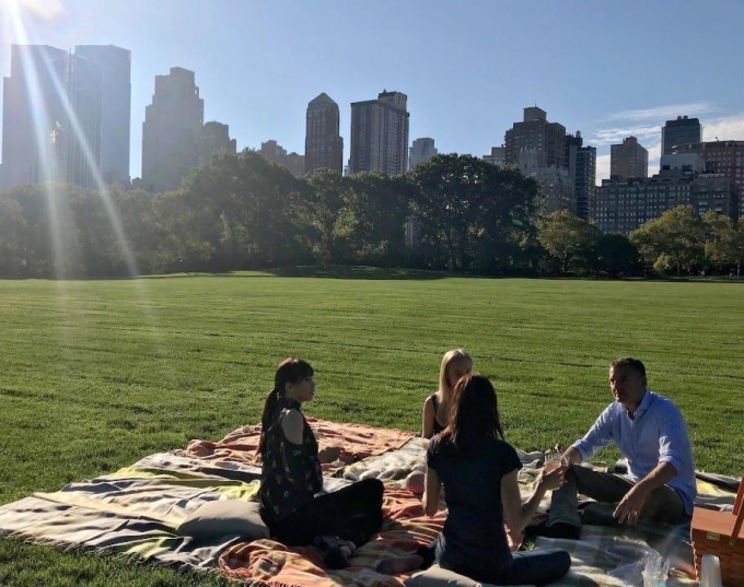 Phil Rosenthal picnics on the Great Lawn.