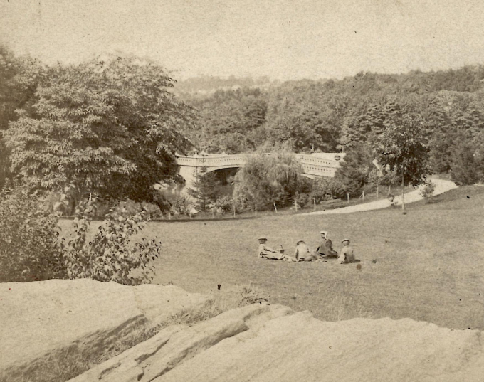 Sepia photo of a group enjoying the park's earliest days