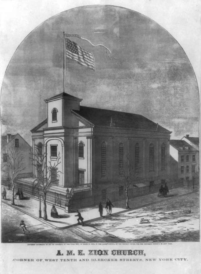 1853 drawing of AME Zion Church