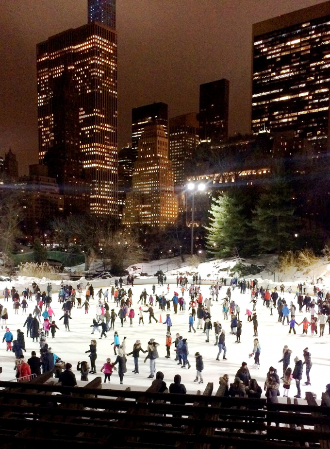 Wollman Rink in the glow of the skyline