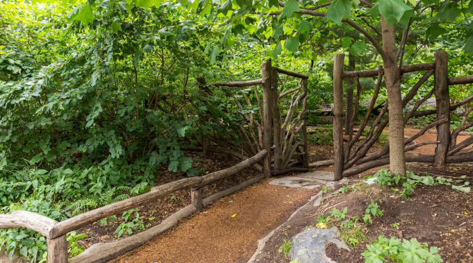 The rustic gate of the Hallett Nature Sanctuary