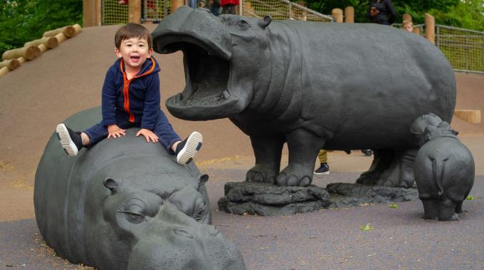 A boy sits atop a hippo sculpture