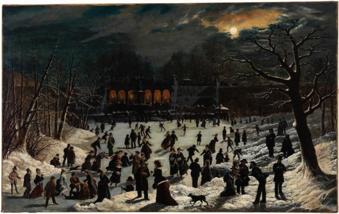 Oil painting of skaters under moonlight in 1878