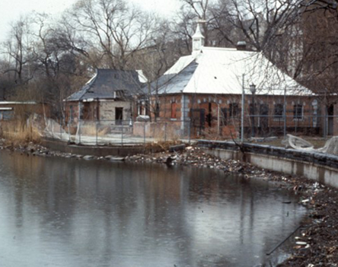 A deteriorated Harlem Meer in 1980