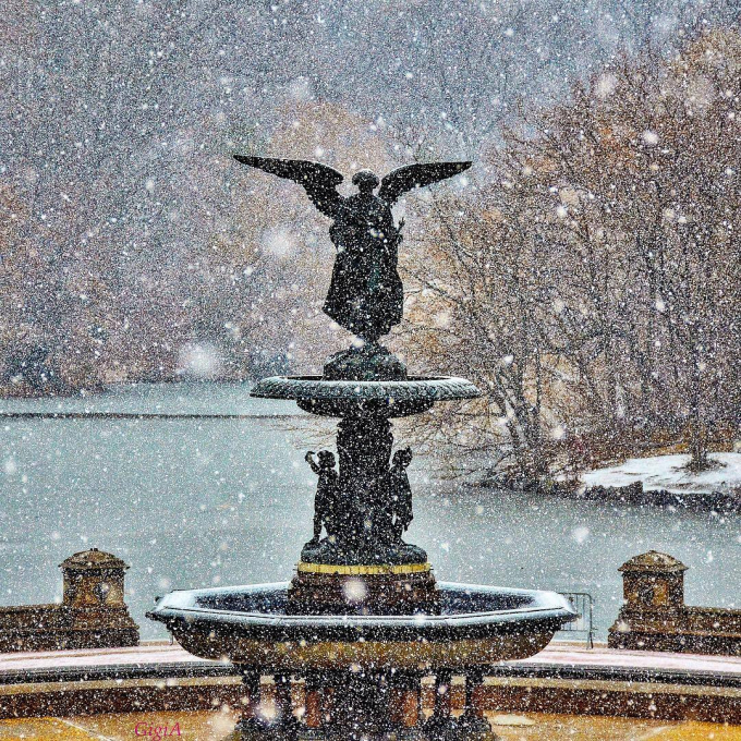 A snow-covered Bethesda Fountain