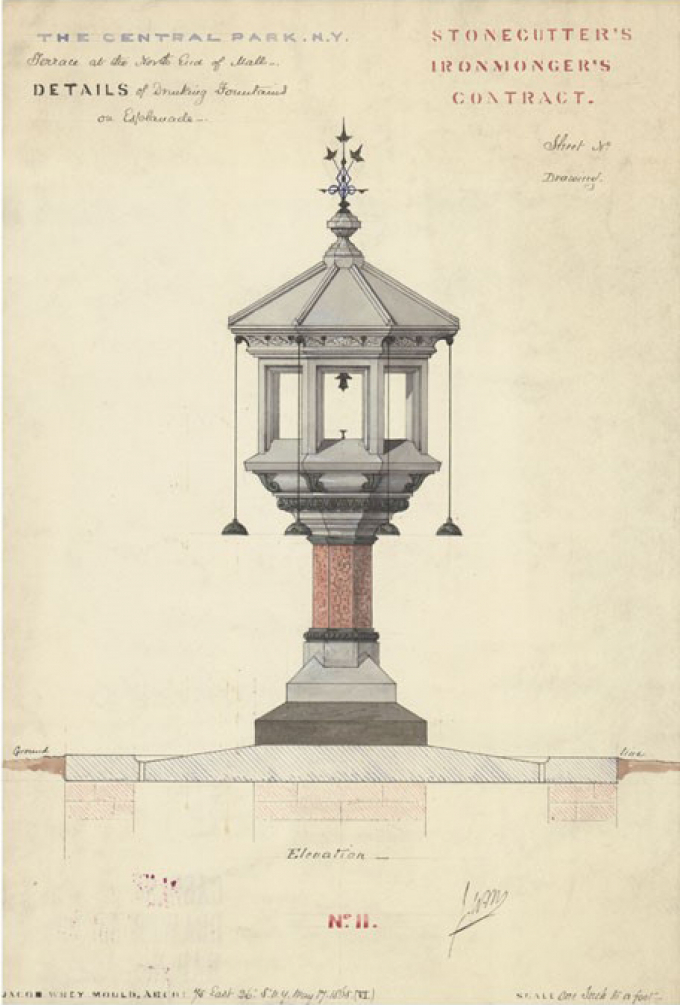 Drawing of a drinking fountain, 1865