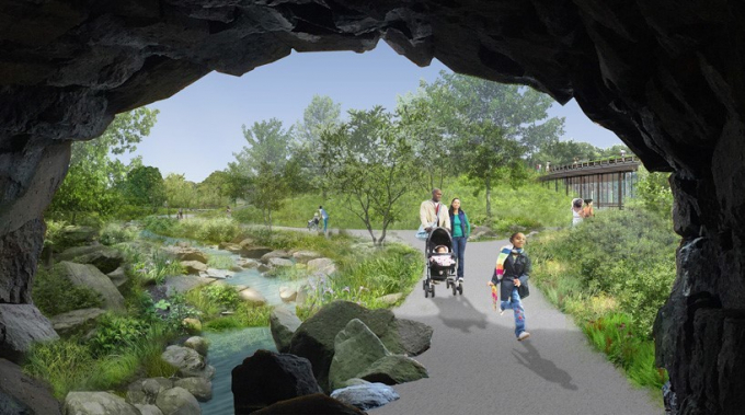 The proposed new view through Huddlestone Arch
