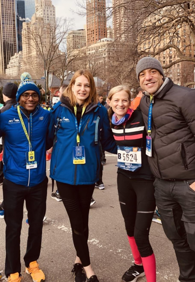 Mary Wittenberg with NY Road Runners after the 2019 NYC Half