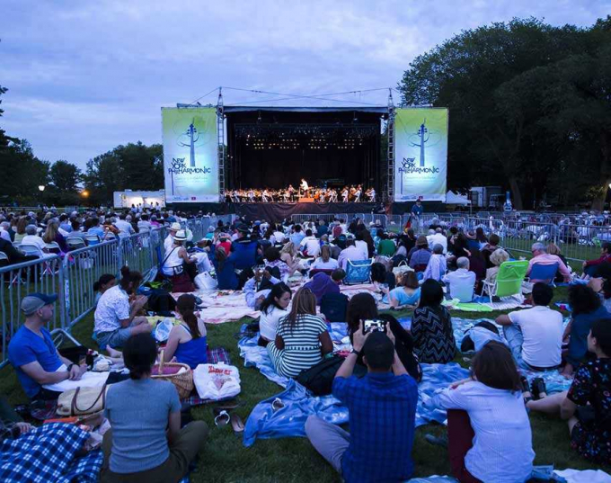 The New York Philharmonic in an evening performance at Central Park