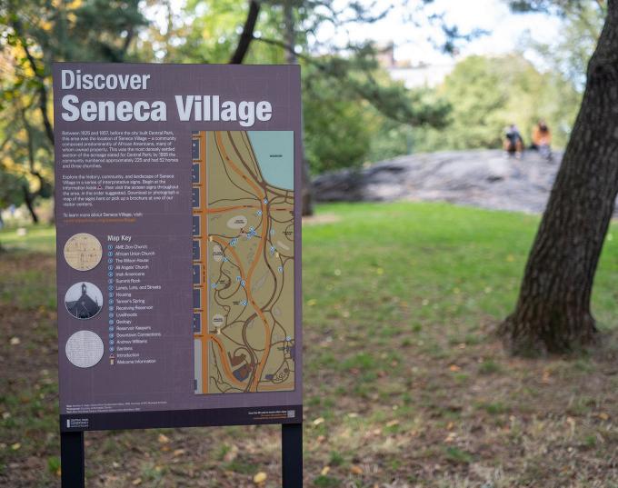 The opening panel of the Seneca Village outdoor exhibit