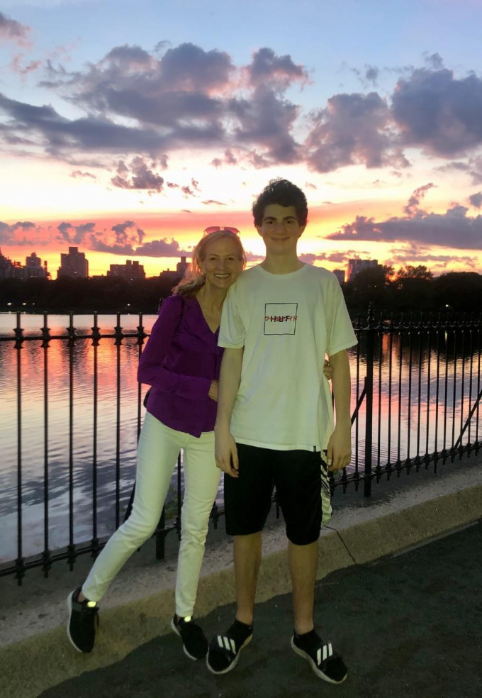 Mary Wittenberg and her son, Cary, at the Reservoir at Central Park