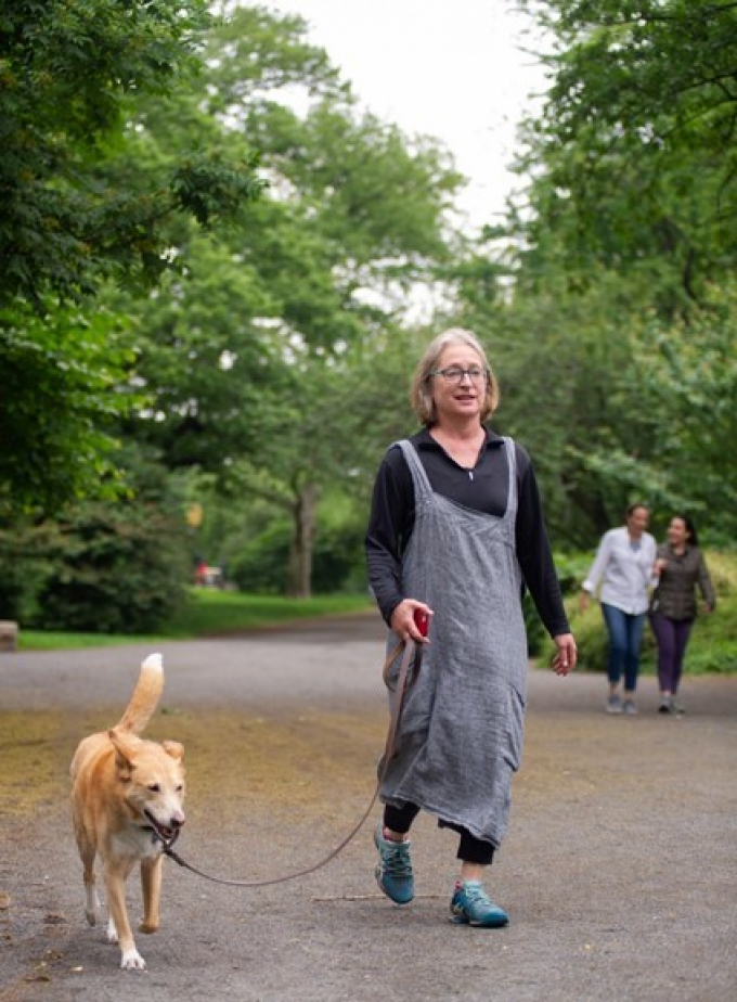 Harriet and her dog Ginger walk the bridle path