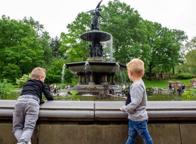 Marcus and Dominick eye Bethesda Fountain