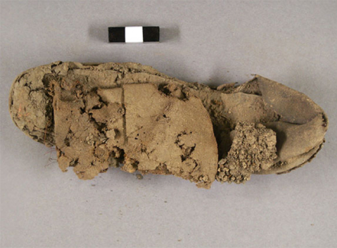 Child's shoe excavated from Seneca Village