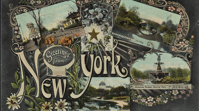 Florid postcard showing scenes from Grant's Tomb and Central Park