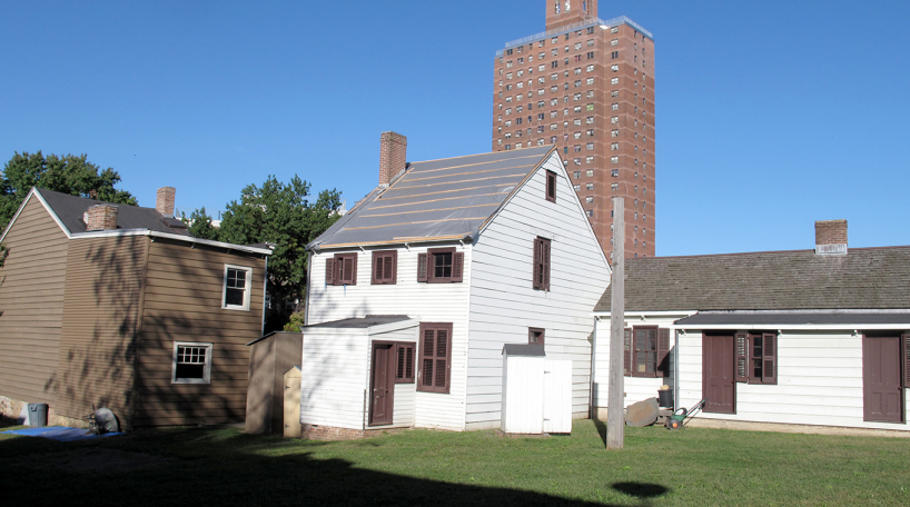 Outdoor shot of houses at the Weeksville Heritage Center