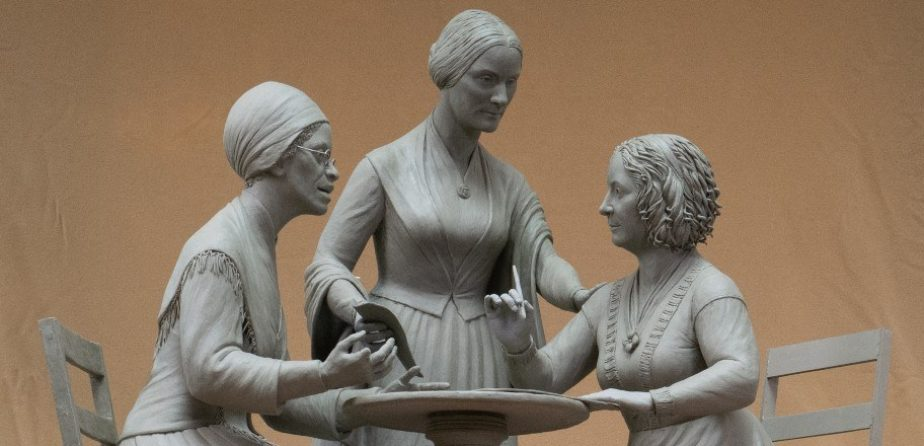 A model of the Women's Rights Pioneers Monument, sculpted by Meredith Bergmann