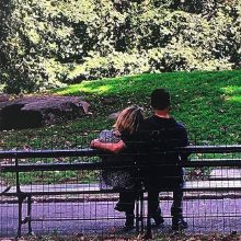 Phil Rosenthal with his wife on a Central Park bench