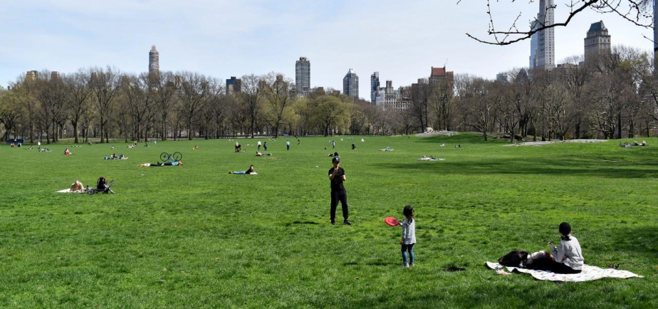 A toddler plays Frisbee in the Park