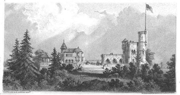 Early rendering of Belvedere Castle