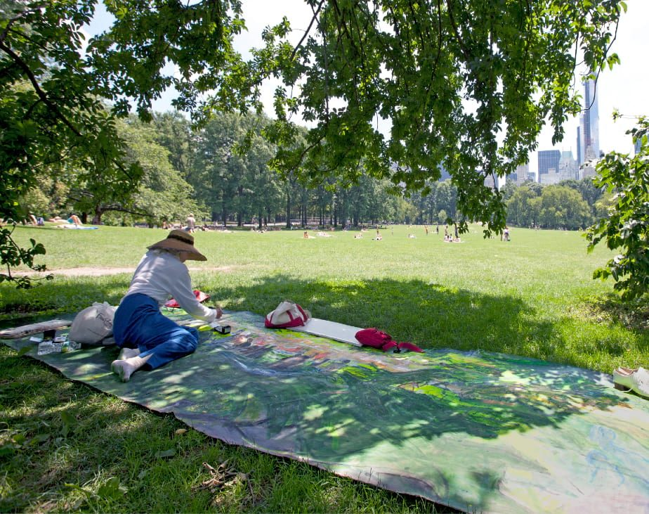 Janet Ruttenberg at work in Central Park