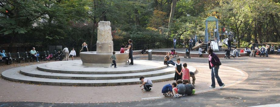 Children playing in the Sophie Loeb Fountain