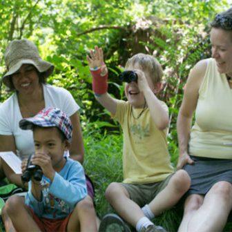 Children birding the North Woods